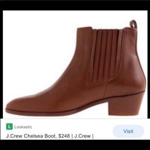 J. Crew 8 Chelsea cognac brown leather ankle boot